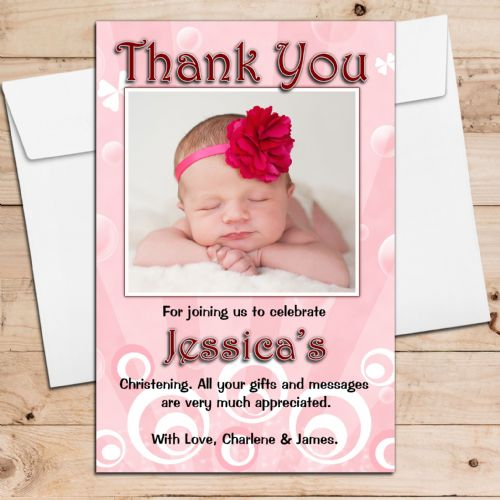 10 Personalised Thank you PHOTO Cards N100 Girls Christening, Birthday All Occasions